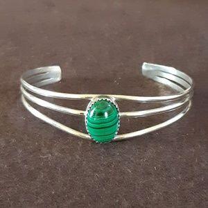 Green Malachite White Metal Cuff Bracelet